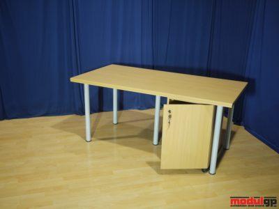 Fémlábú, bükk fedlapú asztal, opcionálisan alsó konténerrel, 160x80cm