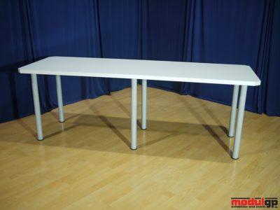 Fémlábú, fehér fedlapú asztal, 240x80cm