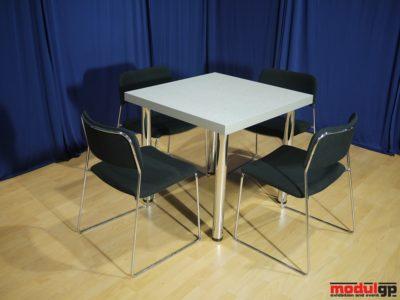Szürke fedlapú asztal, 4db Tallin székkel