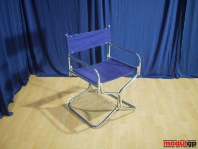 Fémvázas, csőlábú szék, kék vászonnal