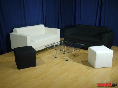 Tonino dohányzó asztal, 2db Klobo szövet kanapéval és 2db Puffal