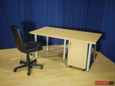 Fémlábú bükk fedlapú asztal, 1db irodai forgószékkel és asztal alatti konténerrel