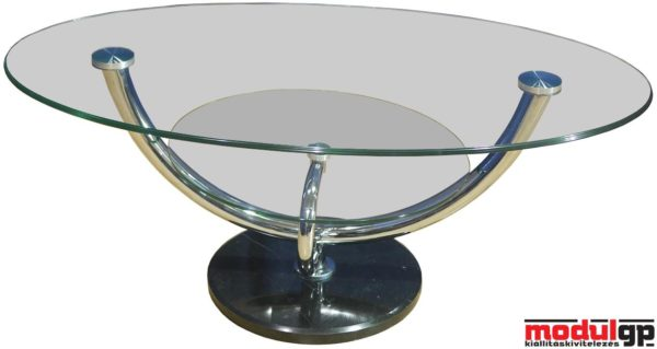 Ovális üvegasztal